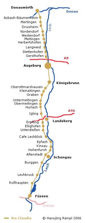 Verlauf der Via Claudia in Schwaben von Donauwörth bis Füssen