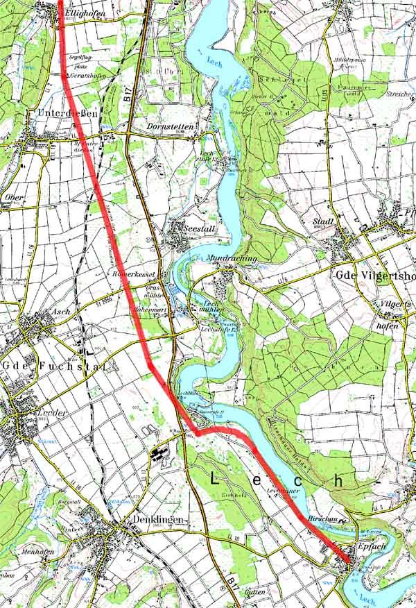 Topographische Karte des Verlaufs der Via Claudia von Ellighofen bis Epfach