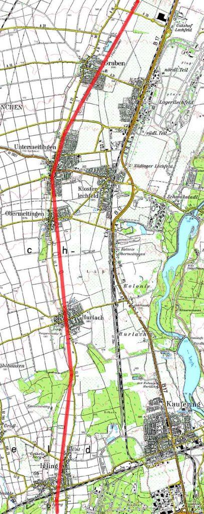 Topographische Karte des Verlaufs der Via Claudia zwischen Graben und Igling