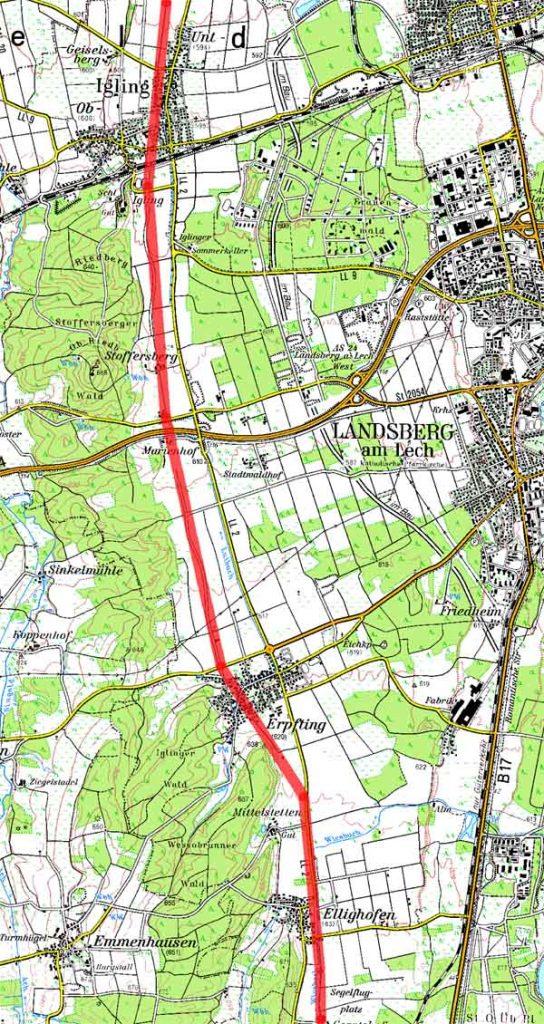 Topographische Karten des Verlaufs der Via Claudia von Igling bis Erpfting